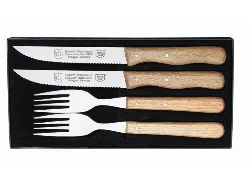 Sztućce stekowe zestaw 4 elementowy nóż ząbkowany, widelec